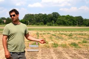 Steven Mirsky explaining his research on no-till organic farming